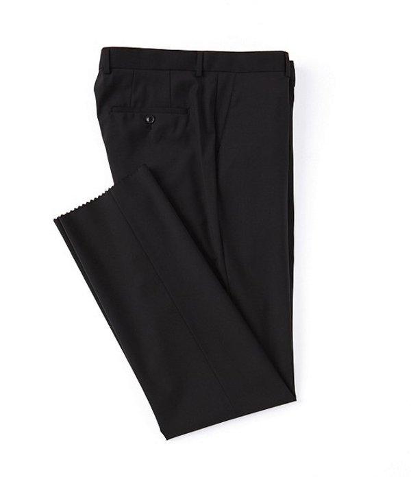 ヒューゴボス メンズ カジュアルパンツ ボトムス Classic Fit Flat Front Solid Wool Dress Pants Black