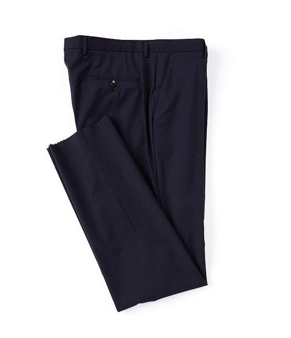 ヒューゴボス メンズ カジュアルパンツ ボトムス Leenon Regular Fit Flat Front Solid Wool Dress Pants Navy