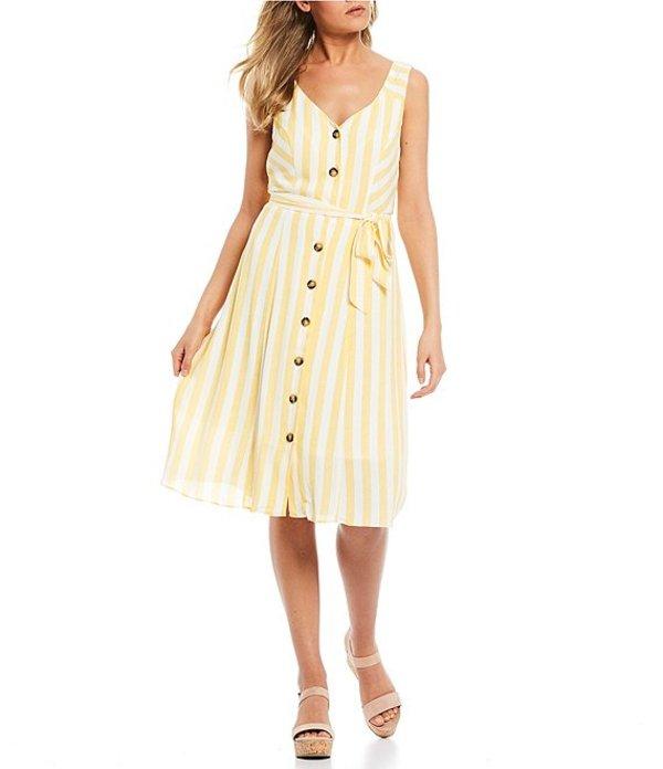 I.N.サンフランシスコ レディース ワンピース トップス Button Front Tie Waist Midi Dress Yellow Stripe