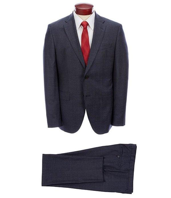 ヒューゴボス メンズ ジャケット・ブルゾン アウター Jackson/Lenon Slim Fit Windowpane Wool Suit Blue