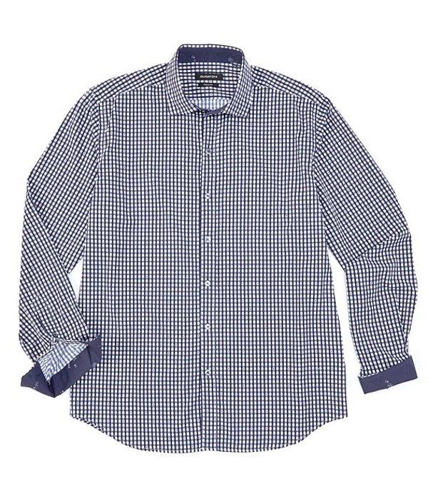 ブガッチ メンズ シャツ トップス Performance Check Long-Sleeve Woven Shirt Navy