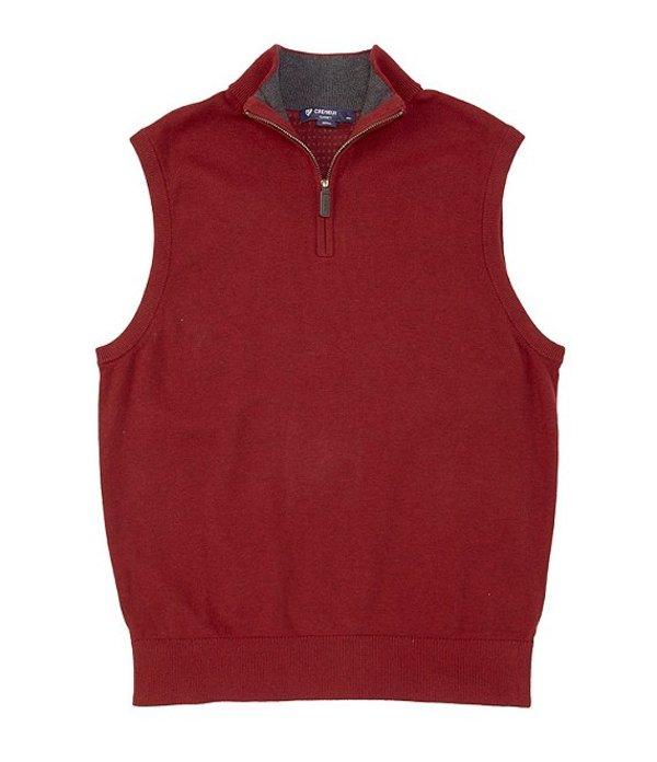 ダニエル クレミュ メンズ パーカー・スウェット アウター Solid Quarter-Zip Mock Neck Vest Red Heather
