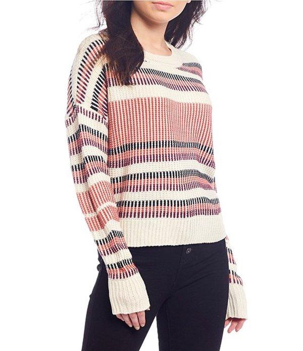 タカラ レディース パーカー・スウェット アウター Long Sleeve Stripe Ribbed Sweater Ivory/Blush