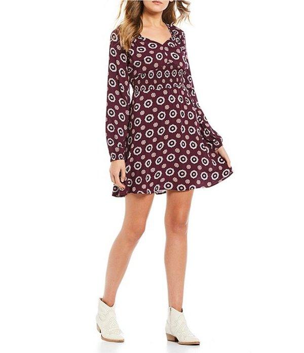 タカラ レディース ワンピース トップス Long Sleeve Geo- Print Knit Dress Plum