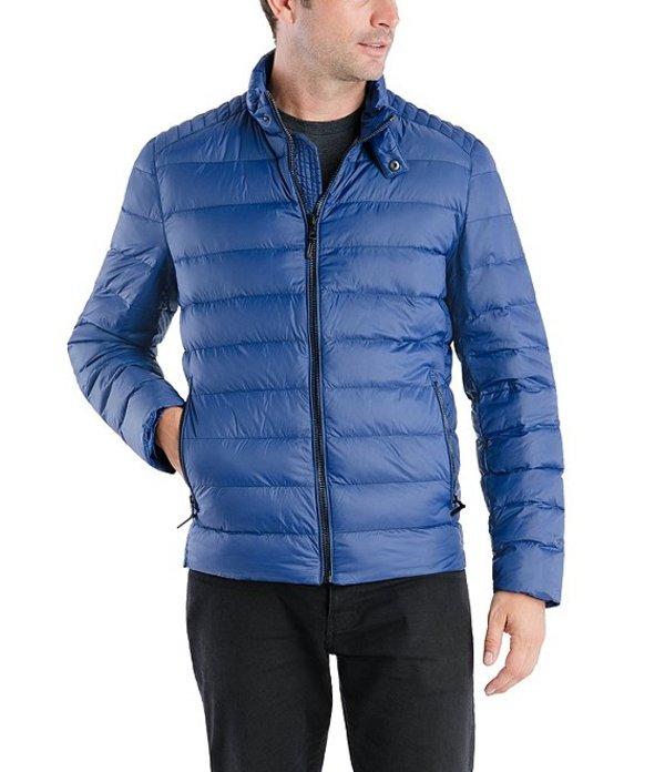 マイケルコース メンズ ジャケット・ブルゾン アウター Down Packable Moto Puffer Jacket Blue Depth