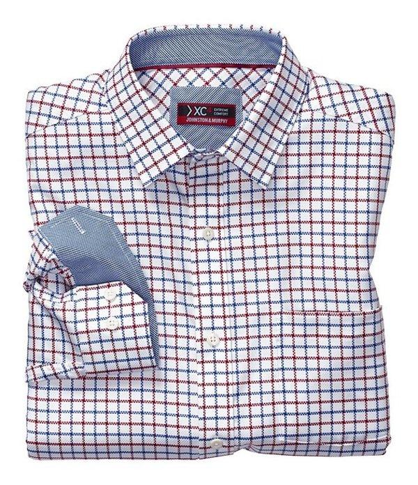 ジョンストンアンドマーフィー メンズ シャツ トップス XC4 Extreme Comfort Non-Iron Windowpane Long-Sleeve Woven Shirt Burgundy