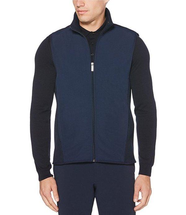 ペリーエリス メンズ ジャケット・ブルゾン アウター Solid Stretch Full-Zip Fleece Vest Dark Sapphire
