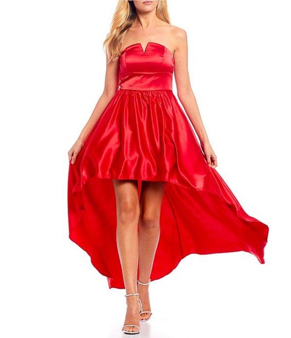 ビーダーリン レディース ワンピース トップス Strapless Notch-Neck Satin High-Low Long Dress Cherry Red