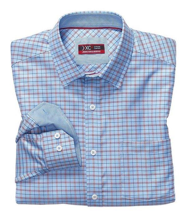 ジョンストンアンドマーフィー メンズ シャツ トップス XC4 Non-Iron Arrow Rope Check Stretch Long-Sleeve Woven Shirt Blue Multi