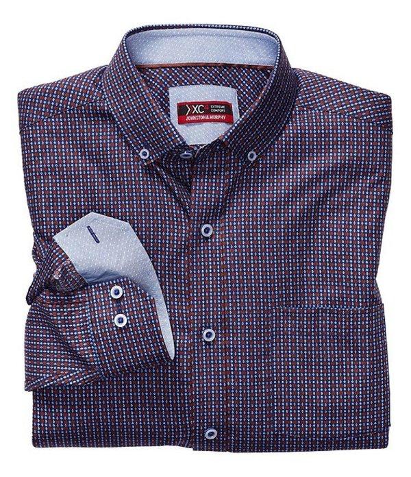ジョンストンアンドマーフィー メンズ シャツ トップス XC4 Non-Iron Diamond Gear Print Stretch Long-Sleeve Woven Shirt Navy/Brown