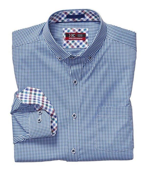 ジョンストンアンドマーフィー メンズ シャツ トップス XC4 Non-Iron Micro Gingham Stretch Long-Sleeve Woven Shirt White/Navy