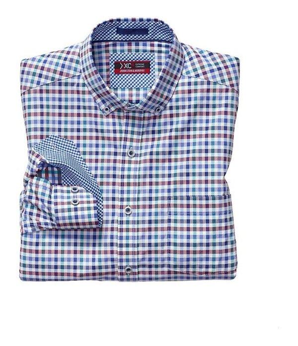 ジョンストンアンドマーフィー メンズ シャツ トップス XC4 Multi-Color Gingham Stretch Long-Sleeve Woven Shirt Red