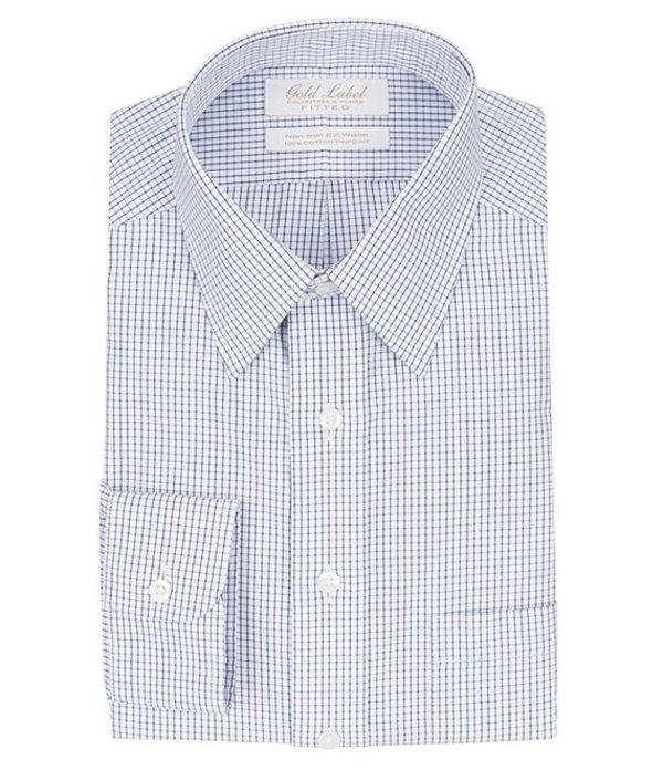 ラウンドトゥリーアンドヨーク メンズ シャツ トップス Gold Label Roundtree & Yorke Non-Iron Fitted Point-Collar Grid Dress Shirt Navy