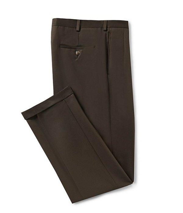 ラウンドトゥリーアンドヨーク メンズ カジュアルパンツ ボトムス Travel Smart Non-Iron Pleated Ultimate Comfort Microfiber Stretch Dress Pants Brown
