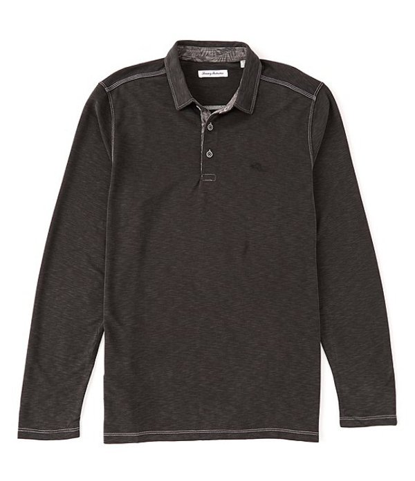 トッミーバハマ メンズ シャツ トップス Big & Tall Palmetto Paradise Long-Sleeve Polo Shirt Black