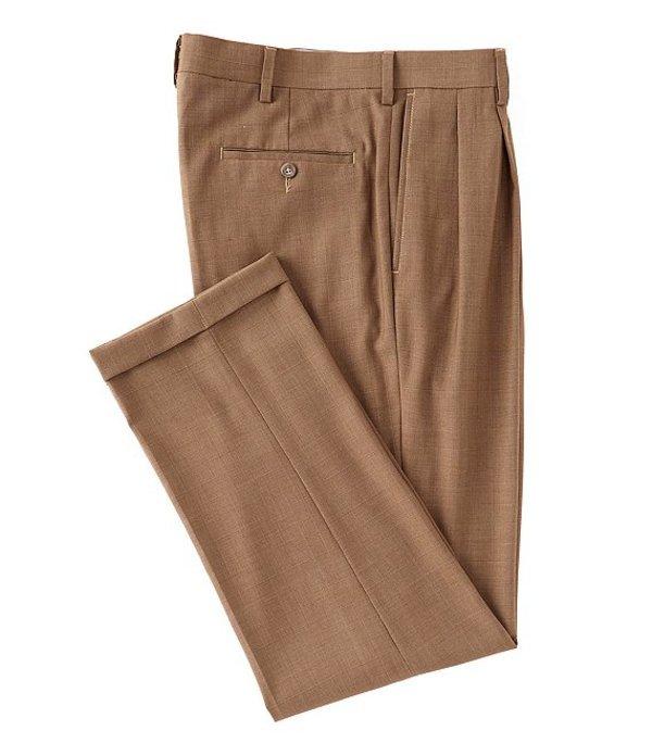 ラウンドトゥリーアンドヨーク メンズ カジュアルパンツ ボトムス Travel Smart Ultimate Comfort Classic Fit Pleat Front Non-Iron Plaid Dress Pants Tan