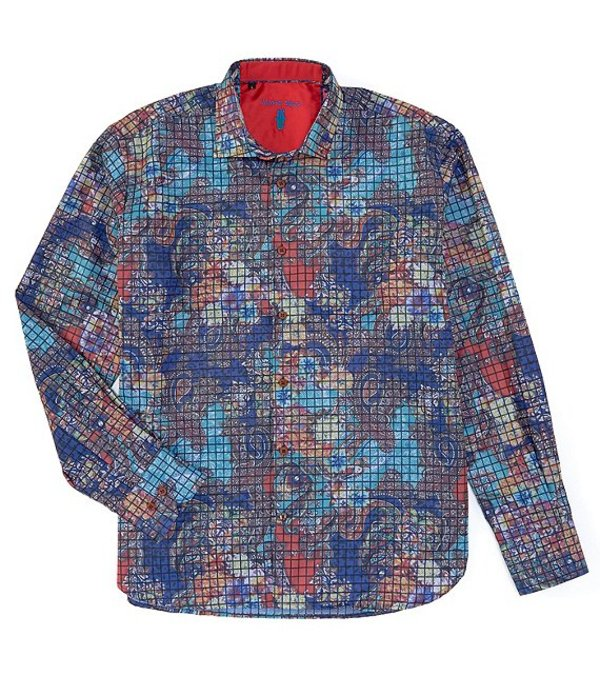 ビスコッティ メンズ シャツ トップス Big & Tall Multi-Color Check Leaf Print Long-Sleeve Woven Shirt Multi