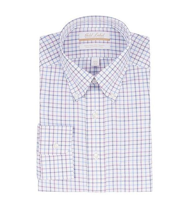 ラウンドトゥリーアンドヨーク メンズ シャツ トップス Gold Label Roundtree & Yorke Non-Iron Classic Fit Button-Down Collar Checked Twill Dress Shirt Berry Multi