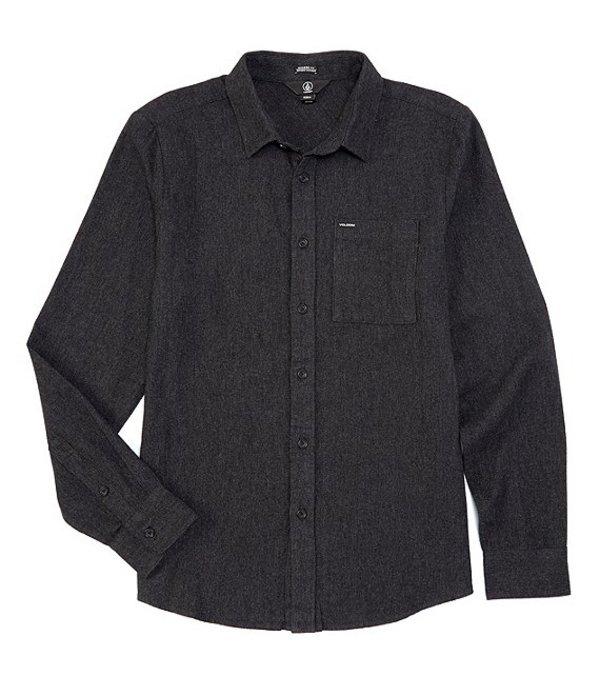 ボルコム メンズ シャツ トップス Modern-Fit Long-Sleeve Caden Solid Flannel Shirt Black