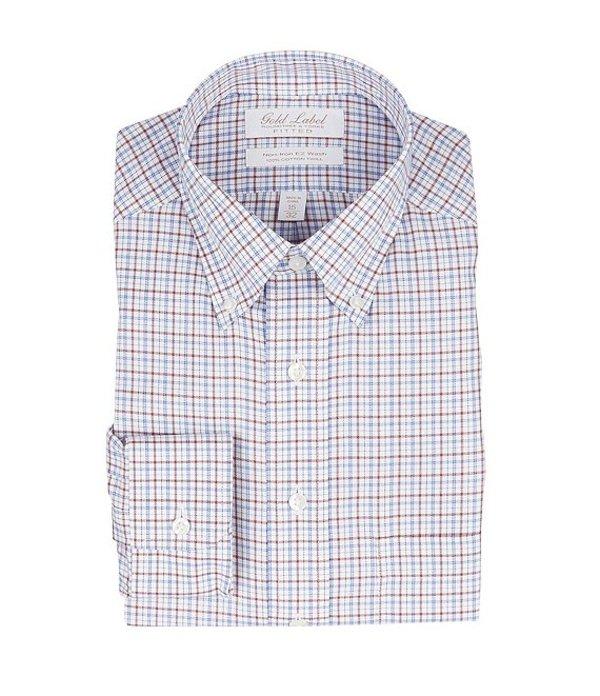ラウンドトゥリーアンドヨーク メンズ シャツ トップス Gold Label Roundtree & Yorke Non-Iron Classic-Fit Button-Down Collar Checked Dress Shirt Brick Multi