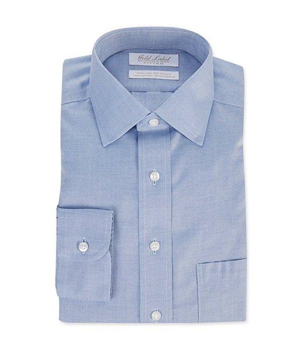 ラウンドトゥリーアンドヨーク メンズ シャツ トップス Gold Label Roundtree & Yorke Non-Iron Fitted Spread Collar Herringbone Dress Shirt Blue