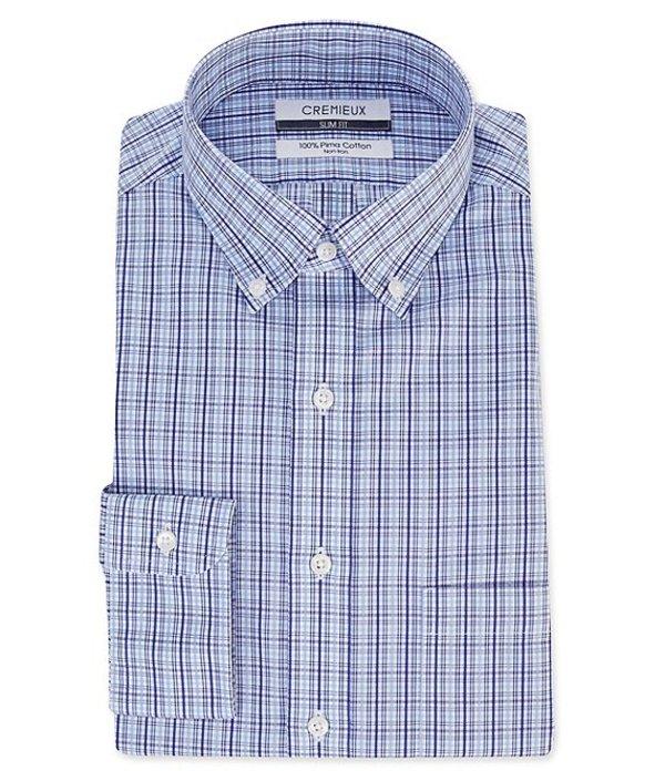ダニエル クレミュ メンズ シャツ トップス Non-Iron Slim Fit Button-Down Collar Multi-Colored Checked Dress Shirt Navy Multi