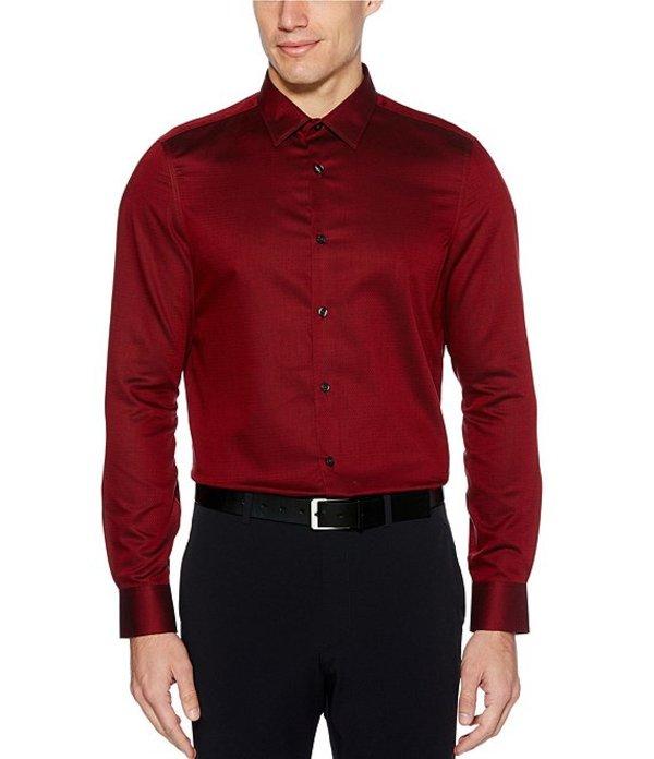 ペリーエリス メンズ シャツ トップス Slim-Fit Solid Wrinkle-Resistant Water-Repellent Dobby Long-Sleeve Woven Shirt Red Dhalia