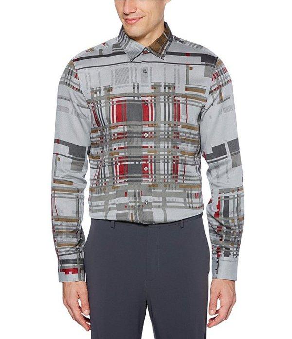 ペリーエリス メンズ シャツ トップス Broken Plaid Print Tweed Long-Sleeve Woven Shirt Asphault