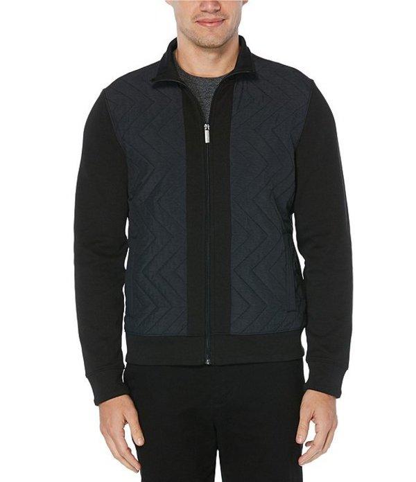 ペリーエリス メンズ ジャケット・ブルゾン アウター Chevron Ponte Knit Full-Zip Long-Sleeve Jacket Black
