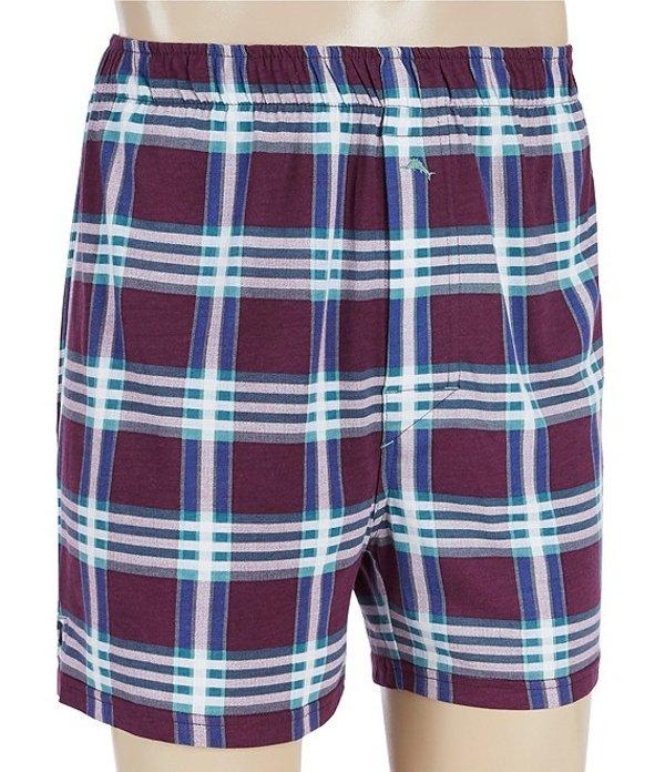トッミーバハマ メンズ ボクサーパンツ アンダーウェア Fall Plaid Knit Boxers Burgundy