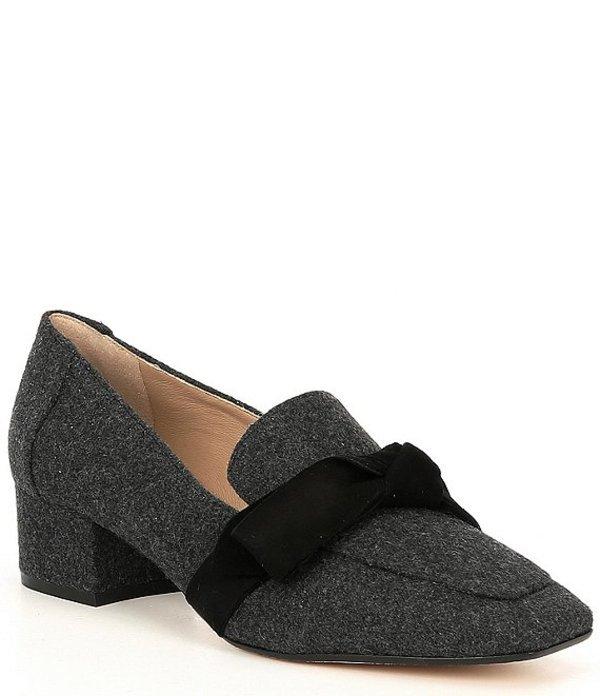アントニオ メラーニ レディース スリッポン・ローファー シューズ Sameera Flannel Knotted Block Heel Moccasins Charcoal Grey/Black