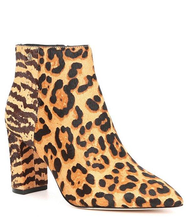 アントニオ メラーニ レディース ブーツ・レインブーツ シューズ Shahn Animal Print Calf Hair Pointy Toe Block Heel Booties Leopard/Multi