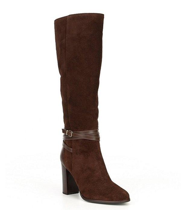 アントニオ メラーニ レディース ブーツ・レインブーツ シューズ Larcin Suede & Leather Buckled Block Heel Dress Boots Woodchip