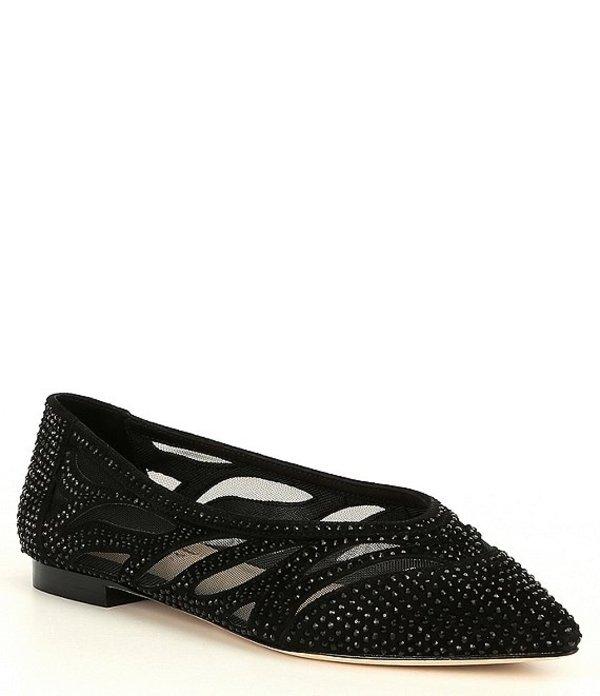 アントニオ メラーニ レディース パンプス シューズ Nadylie Suede Jewel Embellished Pointy Toe Flats Black