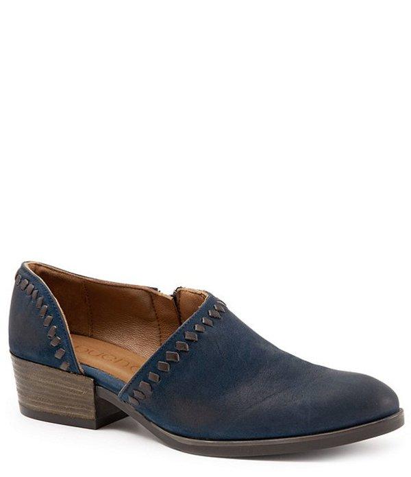 ブエノ レディース ブーツ・レインブーツ シューズ Lauren Asymmetric Leather Block Heel Slip On Shooties Blue Nubuck