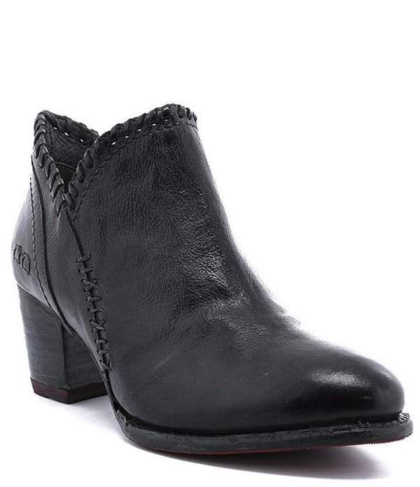 ベッドステュ レディース ブーツ・レインブーツ シューズ Carla Leather Block Heel Booties Black Dip Dye