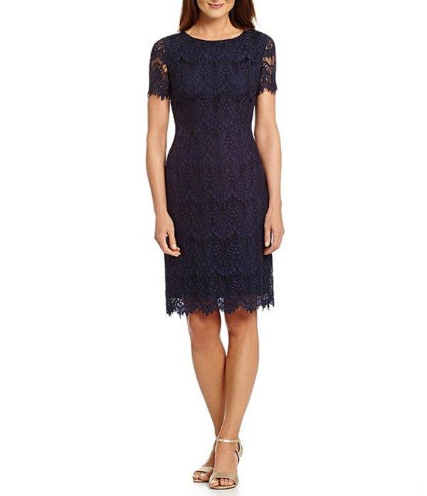 プレストンアンドヨーク レディース ワンピース トップス Felicia Short Sleeve Lace Sheath Dress Navy