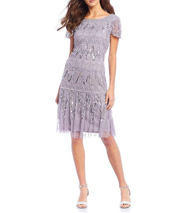 ピサッロナイツ レディース ワンピース トップス Short Sleeve Sequin Beaded A-Line Dress Lavender