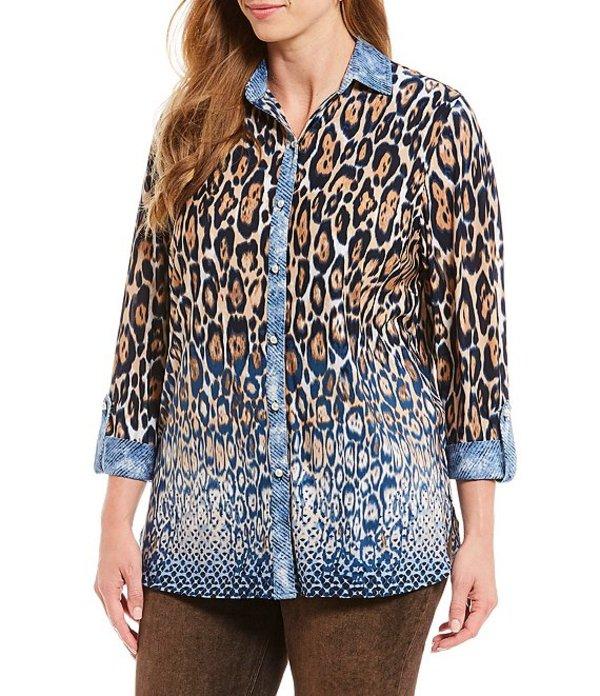 ピーター ナイガード レディース シャツ トップス Plus Size Leopard Print Contrast Placket Roll Cuff Blouse Indigo Cloud Leopard