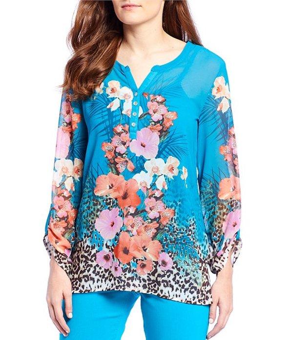 マルチプルズ レディース Tシャツ トップス Petite Size Roll-Tab Sleeve Floral Cheetah Print Top Multi