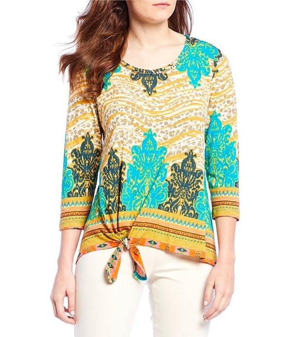 マルチプルズ レディース Tシャツ トップス Petite Size Embellished Bungee Sleeve Print Slub Knit Tie-Front Top Multi