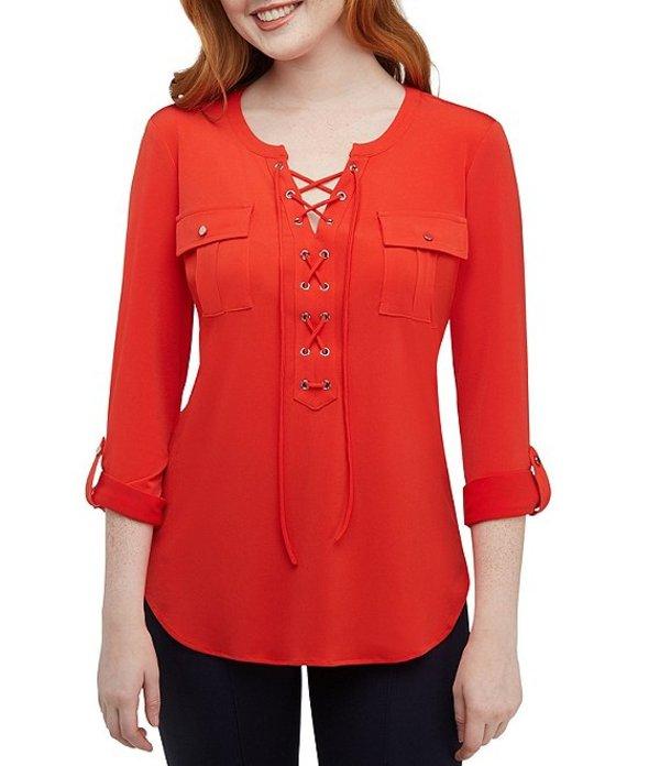 ピーター ナイガード レディース Tシャツ トップス Mixed Media Lace-Up Front Knit Shirt Flame Orange