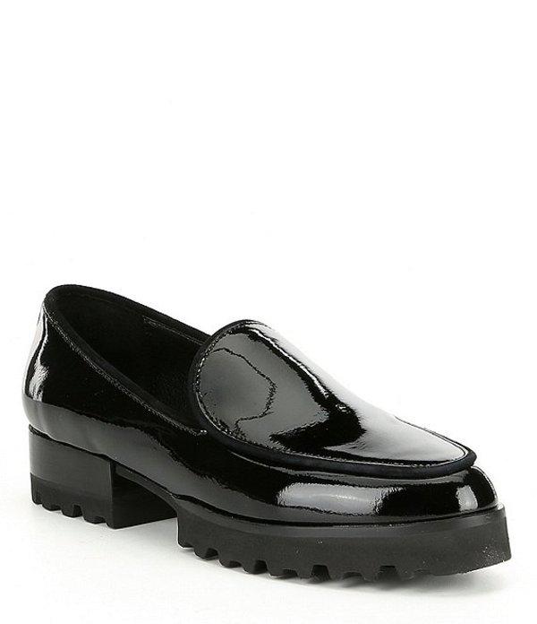 ドナルドプリネール レディース スリッポン・ローファー シューズ Donald J Pliner Elen Crinkle Patent Loafers Black