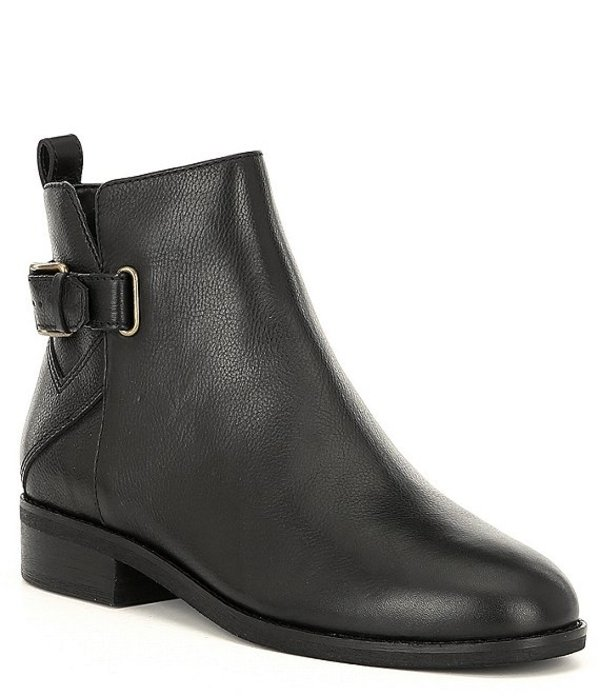 コールハーン レディース ブーツ・レインブーツ シューズ Hollyn Leather Buckle Block Heel Booties Black