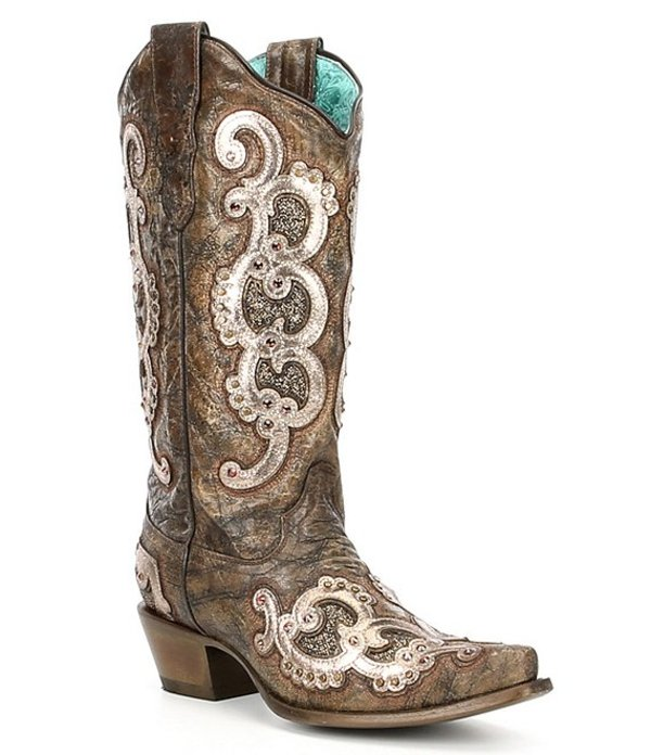 コーラルブーツ レディース ブーツ・レインブーツ シューズ LD Overlay Leather Block Heel Western Boots Brown/Grey