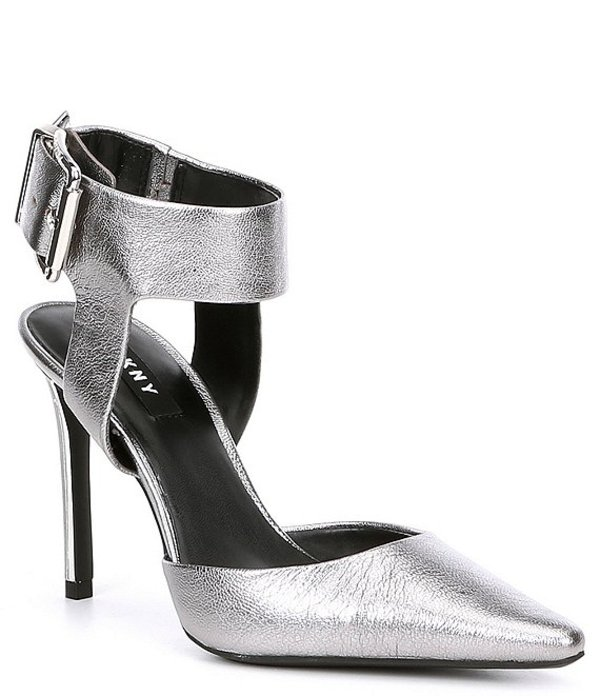 ダナ キャラン ニューヨーク レディース ヒール シューズ Belka Tumbled Metallic Leather Ankle Strap Pumps Pewter