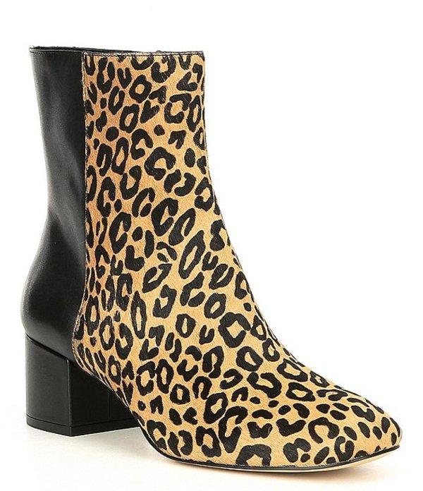 多様な ドナルドプリネール レディース ブーツ・レインブーツ シューズ Cindee Leopard Calf Hair Block Heel Booties Black/Natural, ロイスピエール 77f31eda