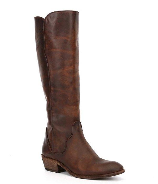 フライ レディース ブーツ・レインブーツ シューズ Carson Piping Tall Wide Calf Leather Block Heel Boots Dark Brown