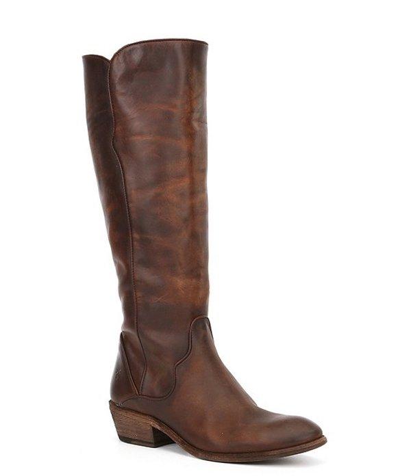 フライ レディース ブーツ・レインブーツ シューズ Carson Piping Tall Leather Stovepipe Block Heel Boots Dark Brown
