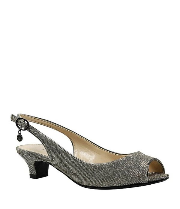 【まとめ買い】 ジェイレニー レディース パンプス シューズ Jenvey Glitter Slingback Peep-Toe Dress Pumps Pewter, Strawberry Jam 5c5d81a4